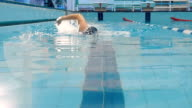 Man swimming crawl in the pool with splash arm video