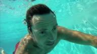 Man swimming underwater video