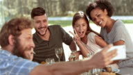 SLO MO Man taking selfie with family at picnic video