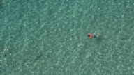 AERIAL: Man taking deep breath and swimming under sea surface towards wild beach video