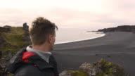 POV Man taking selfie on Icelandic beach video