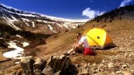 Man Tents in Remote Rocky Mountains video