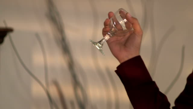 Man throws wine glass from his hand video