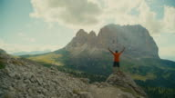 Man trail running on Dolomites high mountain video