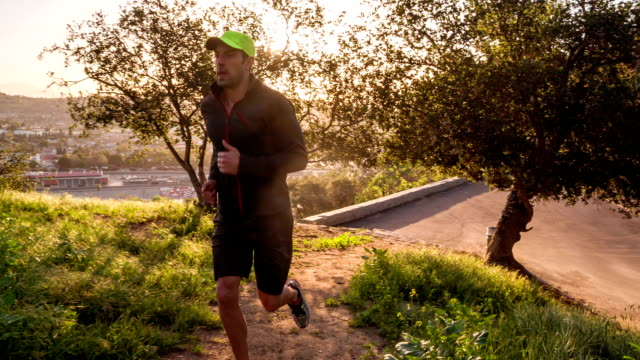 Man Trail Running Slow-Motion video