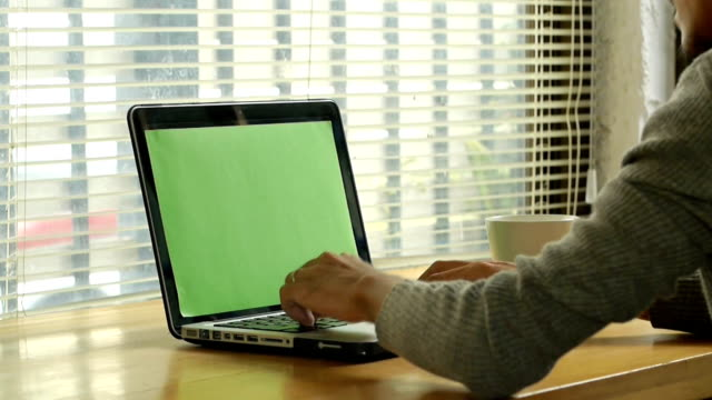 man typing on computer laptop keyboard with green screen monitor video