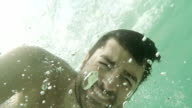 Man under water. Slow motion video