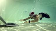 Man using a laptop underwater video