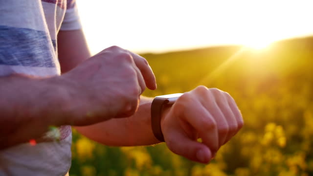 Man using smartwatch on sunset in field of flowers video