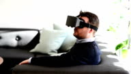 Man Using Virtual Reality Glasses video