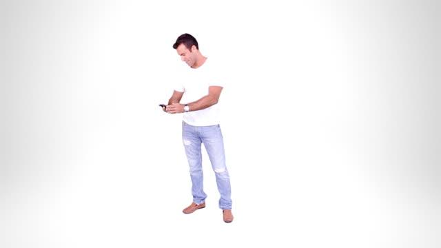 Man waiting. Alpha matte. Casual. video