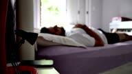 Man wake up alarm clock video