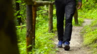 Man walking in forest path video
