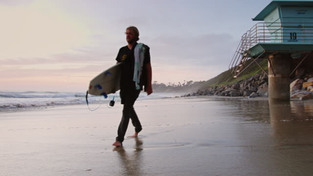 Man Walking in Surf at Sunset video