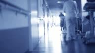 Man walking in the hospital to heaven light (death). video