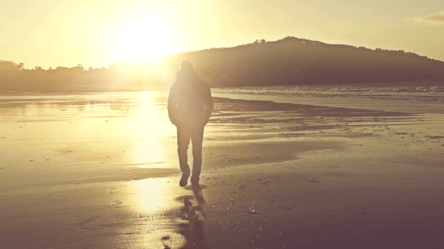 Man walking on the shore at sunset video