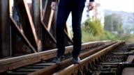 Man walking on tracks video