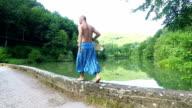 Man walking. Slow motion video