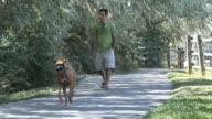 Man walking with his pet dog video