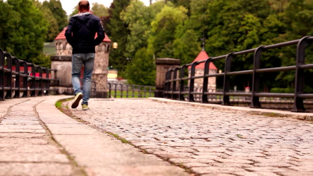 A man walks by the old cobbled dam in spring video