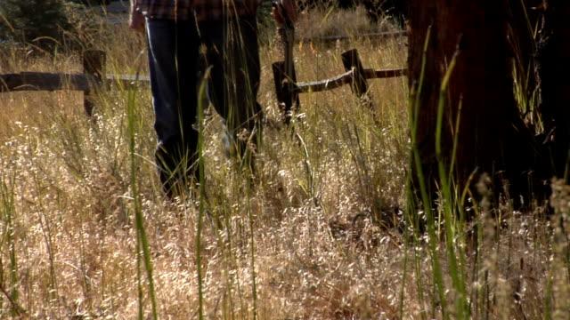 Man walks with gun rural video