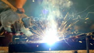 Man welding, slowmotion footage video