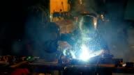 Man welding, slowmotion footage video