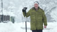 HD: Man With A Shovel Standing In Snow video