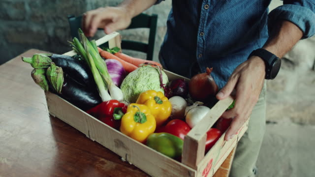 Man with grocery box video
