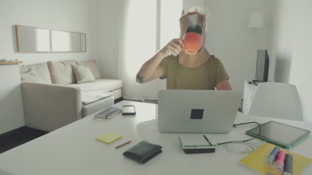 Man with horse head mask working at home video