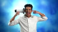 Man with megaphone, ignoring, screaming, covering ear video