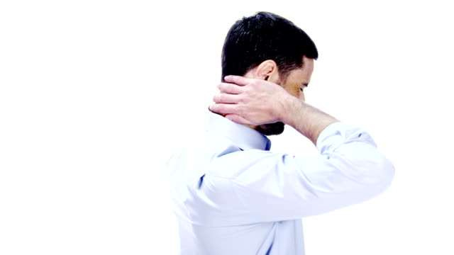 Man with neck pain on white background video