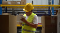 Man working at a distribution warehouse video