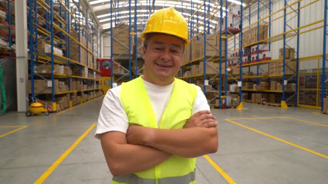 Man working at a warehouse video