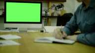 Man Writing Code For Ux on Paper. view3. Screen For Mock Up video