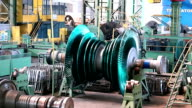manafacturing of turbines in the factory video