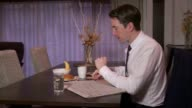 Manager Busy Businessman Business Man Working Using Phone During Breakfast video