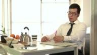 Manager Man Businessman Having Breakfast Drinking Tea Reading Financial Paper video