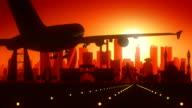 Manama Bahrain Airplane Landing Skyline Golden Background video