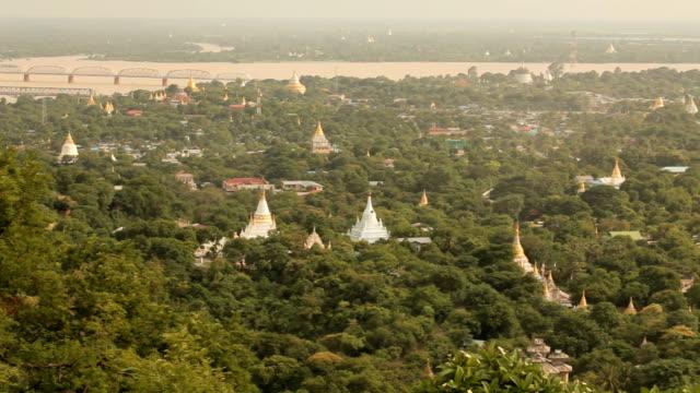 Mandalay with lake mountains from mandalay hill at sunset, Burma video