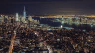 Manhattan aerial panorama cityscape skyline. Timelapse. Far ahead of the Statue of Liberty can be seen. New York City, USA video