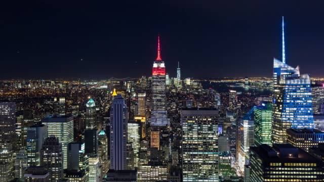 Manhattan and Empire State Building Night Timelapse New York City video