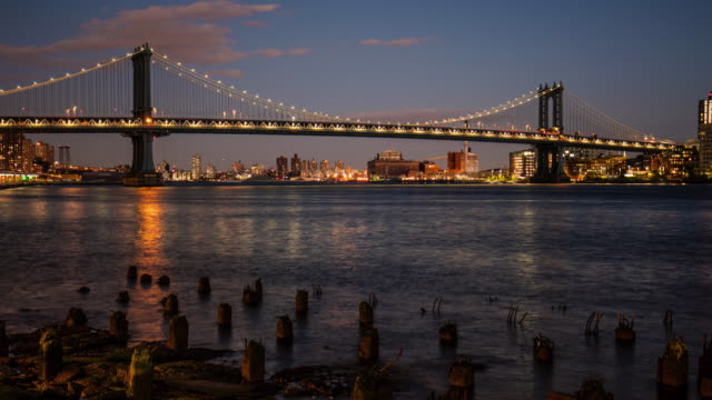 Manhattan Bridge at dusk video