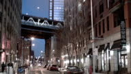 Manhattan bridge between buildings video