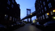 Manhattan Bridge Establishing shot in Brooklyn, New York City video