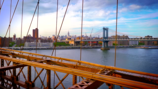 Manhattan bridge through brooklyn bridge and Empire state building background video
