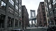 Manhattan bridge through buildings video