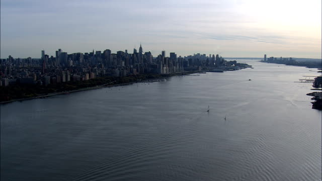 Manhattan From the Hudson At 200Ft - Aerial View - New York,  New York County,  United States video