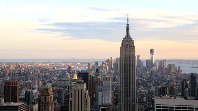 Manhattan Skyline at Sunset, New York City, Usa video