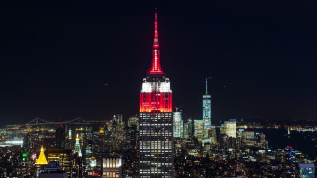 Manhattan Skyline New York City  Night Timelapse video